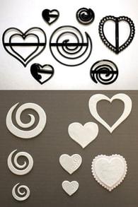 Patchwork Cutters Patchwork Swirls and heart (spirálky a srdíčka)