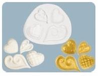 FPC Sugarcraft Silikonová formička Fancy Hearts (Zdobená srdíčka) (Silikonová formička)